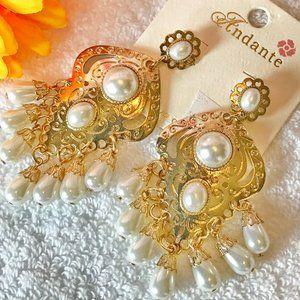 Boho Earrings Drop Pearl Etched Goldtone Tassels